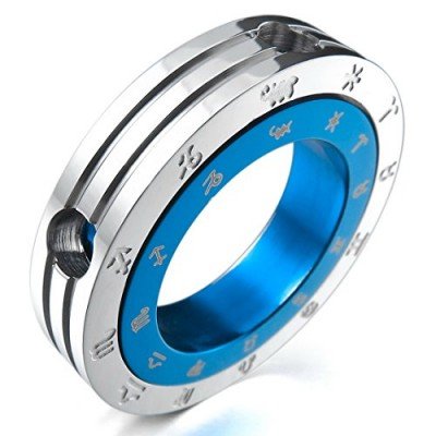 INBLUE Men's Stainless Steel Pendant Necklace Blue Silver Tone Zodiac Couple Ring -With 23 Inch Chain