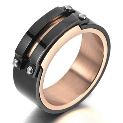 INBLUE Men's Stainless Steel Ring Band Black Gold Tone Size7
