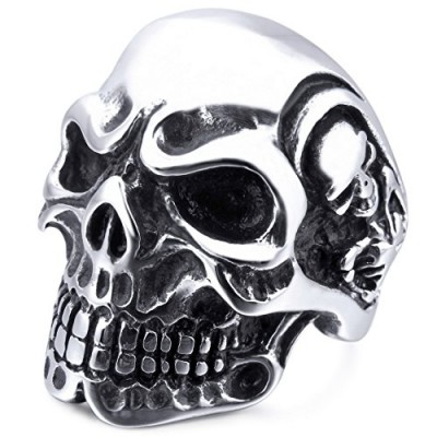 INBLUE Men's Stainless Steel Ring Silver Tone Black Skull Bone Size7