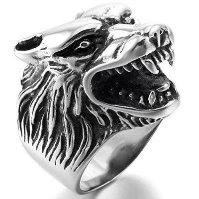 INBLUE Men's Stainless Steel Ring Silver Tone Black Wolf Head Size7