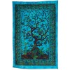 Jaipur Handloom Exclusive Turquoise Boho Tree of Life Tapestry by Tie and Dye Blue Dorm Tapestry, Hippie Gypsy Wall Hanging New Age Dorm Tapestry