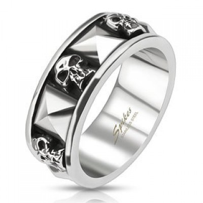 STR-0044 Stainless Steel Skull and Pyramid Combination Cast Band Ring; Comes With Free Gift Box (9)