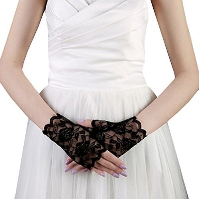 JISEN Lace Fingerless Rose Gothic Wrist wedding Party Gloves Black