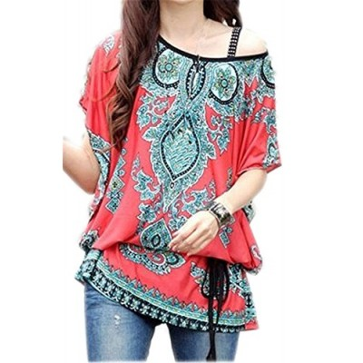 JSDY Womens Gothic Floral Printed Bohemia Bat Sleeve Blouse Tee Shirts Top Red