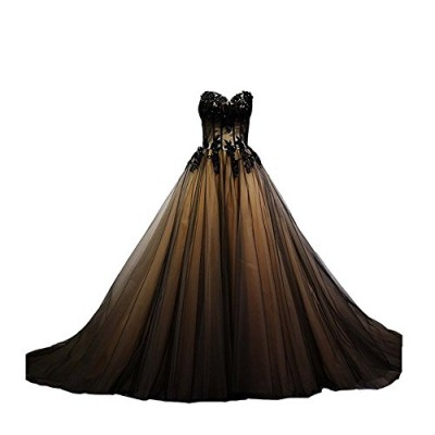 Kivary Sweetheart Black Tulle Gold Lace Corset Ball Gown Gothic Prom Wedding Dresses US 20W