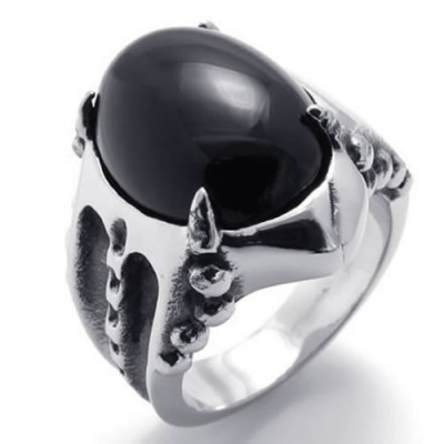 KONOV Jewelry Vintage Stainless Steel Gothic Dragon Claw Biker Mens Ring, Oval Agate, Black Silver, Size 7