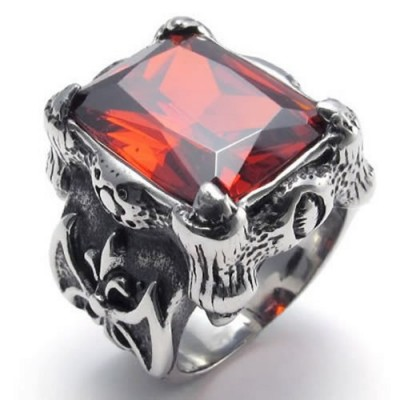 Size 7 - KONOV Jewelry Vintage Stainless Steel Band Red Crystal Gothic Dragon Claw Biker Men's Ring