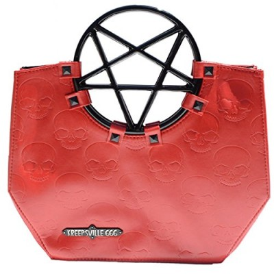 Vinyl Red Pentagram Handle Purse Gothic Halloween Kreepsville 666 Handbag