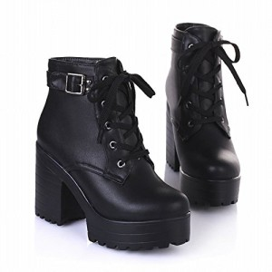 Latasa Women's Fashion Platform Ankle-high High-heel Chunky Boots, Lace-up Martin Boots (10, black)