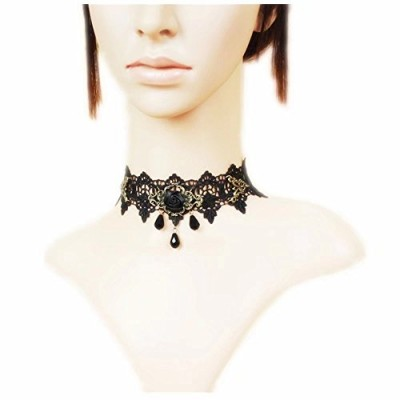 LEFINIS Black Rose Bead Popular Girl Gothic Lolita Black Lace Collar Choker Necklace
