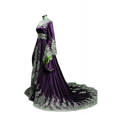 Lemai High Low Vintage A Line Gothic Prom Evening Dresses Beaded Sequins Corset Purple and Green US 10