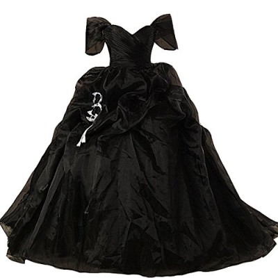 Lemai Vintage Black and White Ball Gown Off Shoulder Gothic Victorian Wedding Dresses US 22W
