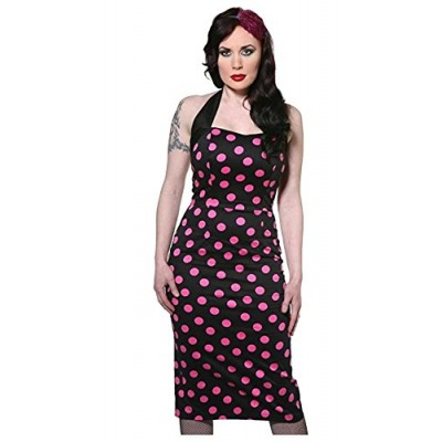 Living Dead Souls Womens/Juniors SWEETHEART HALTER PENCIL POLKA DOT DRESS- S, Black/Pink