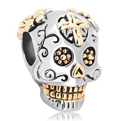 LovelyJewelry Day of the Dead Decorated Rose/heart /Cross Skull Bead-dia De Los Muertos For Bracelets