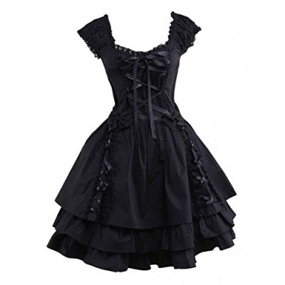 M4u Womens Classic Black Layered Lace-up Cotton Lolita Dress L