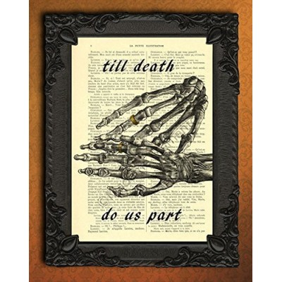 till death do us part wedding poster, human skeleton hands wedding ring wall art, gothic couple rings art print, halloween wedding decor, I love yo...