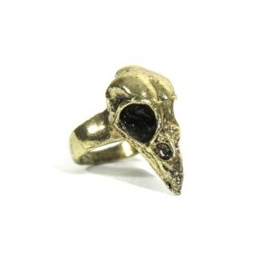 Magic Metal Bird Skull Cocktail Ring Size 4 Gold Tone Gothic Raven Taxidermy RE11 Fashion Jewelry