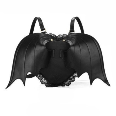 Makerfire Novelty Black Bat Wings Backpack Wing Gothic Goth Punk Lace Lolita Bag