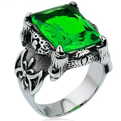Men's Large Stainless Steel Crystal Dragon Claw Knight Cross Flower Gothic Vintage Ring , Silver Green Size 7
