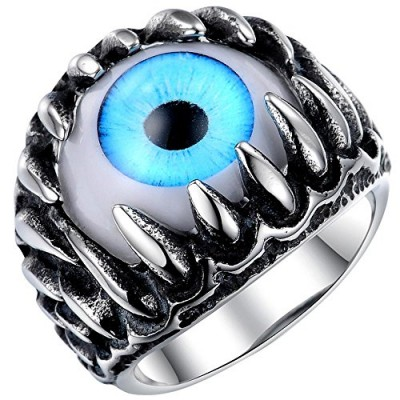 Men's Stainless Steel Gothic Skull Dragon Claw Evil Devil Eye Biker Ring,vintage Blue Silver White Size 7