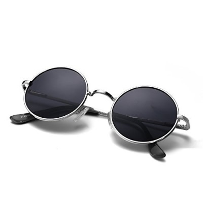 Menton Ezil Round Vintage Mirror Lenses UV protection Polarized unisex Small Hippie Syle Sunglasses for Men With Black Silver Metal Frame Black Len...