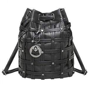 MG Collection IVY Black Studded Cross Woven Bucket Tote Style Backpack