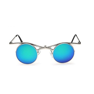 MINCL/Boho Chic Gothic punk Sidestreet Flip-up Round Mirror Lens Metal Frame Sunglasses (silver-blue green, silver-blue green)