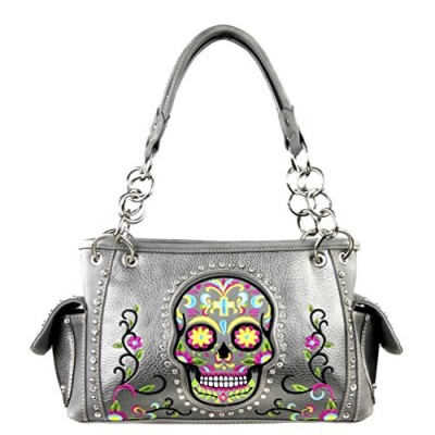 Sugar Skull Concealed Handgun Collection Handbag (Pewter)