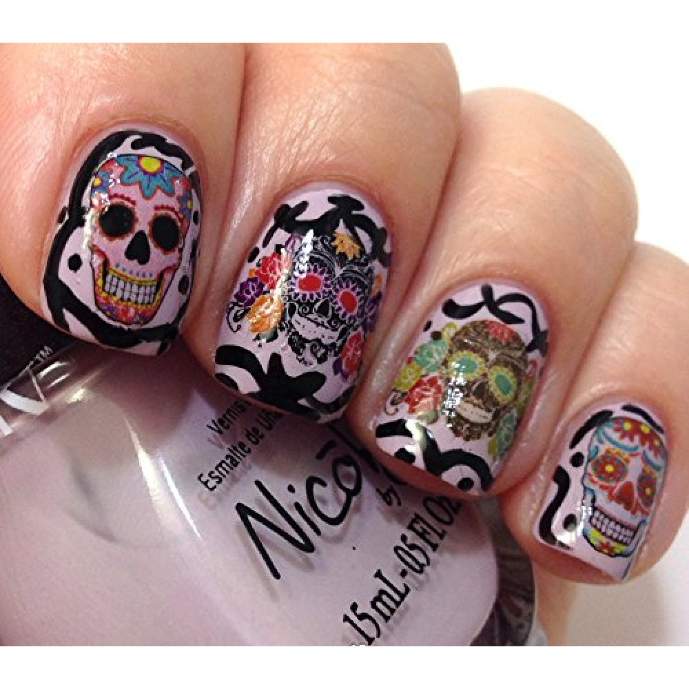 Sugar skull nail art day of the dead decals assortment 3 featured in rachael ray magazine october 2014 2 1000x1000g sugar skull nail art day of the dead decals assortment 3 featured in rachael prinsesfo Image collections