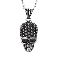 "Men's Large Heavy Punk Rock Stainless Steel Gothic Skull Biker Pendant Necklace, 24"" Link Chain"