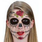 Black Lacey Web Sugar Skull Day of the Dead Temporary Face Tattoo
