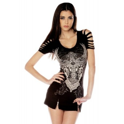 Folter Womens Gothic Ripped Cross Tee (L)