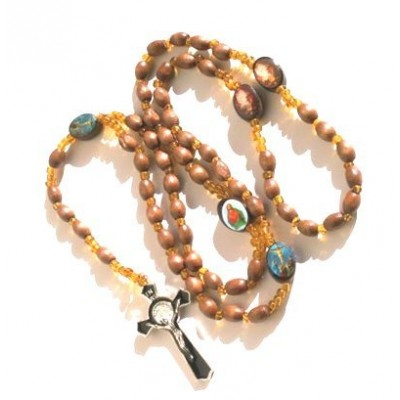 Gorgeous Gift! Saints Olive Wood Rosary Beads Cross Necklace / Pendant Crucifix Chain Rosario Rosery Chaplet Holy Prayer Pray Anglican Men Women Mi...
