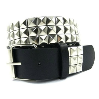 3 Rows Pyramid Stud Punk Spike Gothic Leather Belt Bk - Large