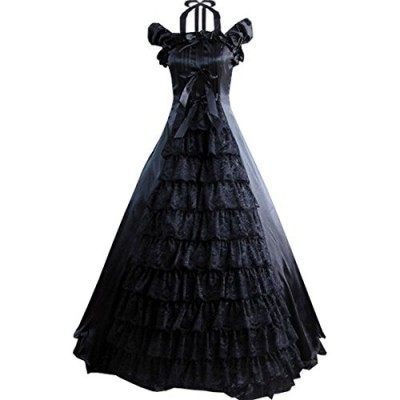 Partiss Women Bowknot Floor-length Ruffles Gothic Victorian Lolita Dress, XS, Black