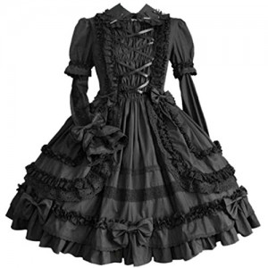 Partiss Women Long Sleeve Multi Layer Sweet Lolita Gothic Lolita Dress, M, Black