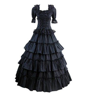 Partiss Women Multi-Layer Floor-length Gothic Victorian Lolita Dress, S, Black