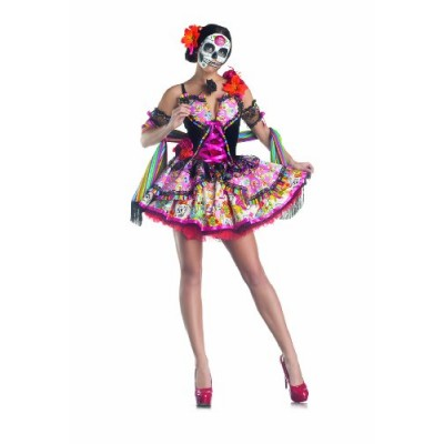Party King Day Of The Dead Women's Costume Set with Mask, Multi, Small