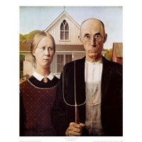 American Gothic, Art Poster by Grant Wood Art Poster Print by Grant Wood, 9x11