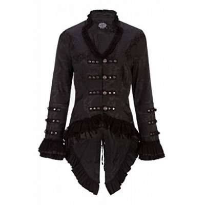 Elegant Black Victorian Jacket with Lace Embellishments – Size US 12