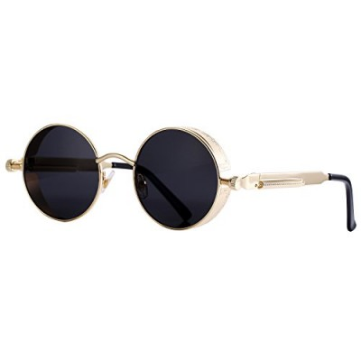Pro Acme Gothic Steampunk Sunglasses for Men Women Metal Frame Round Lens (Black Lens/Gold Frame)