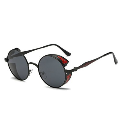 Pro Acme Retro Polarized Round Sunglasses Unisex Metal Frame Steampunk Glasses (Black Frame/Black Lens)