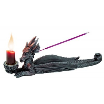 PTC 10 Inch Dragon Hand Painted Resin Incense and Candle Holder, Gray, Multi Color