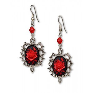 Gothic Red Rose Cameo Earrings Surrounded by Thorns with Red Bead