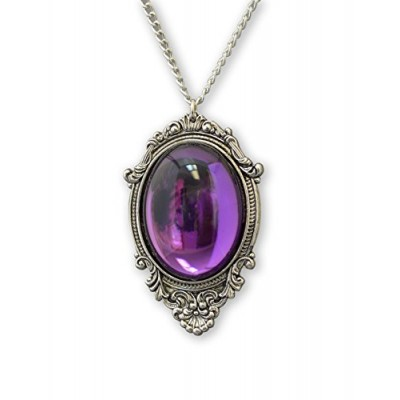 Purple Cabochon in Silver Finish Pewter Frame Large Oval Pendant Necklace