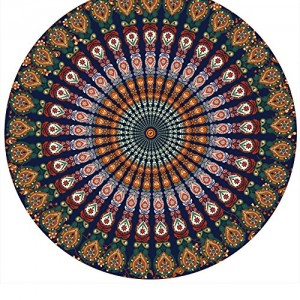 Resulzon Indian Mandala Hawaii Sunproof Round Beach Throw Tapestry Hippy Boho Gypsy Tablecloth Beach Shawl 60 Inches - Orange