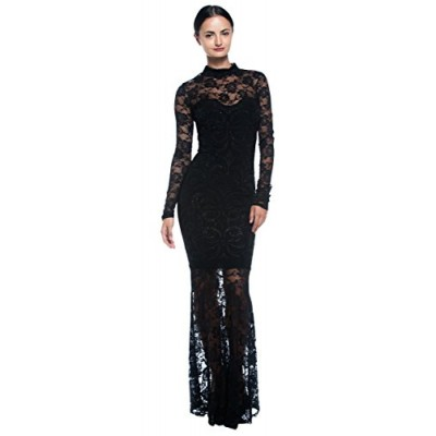 Women's Plus Black Goth Victorian Inspired Lace Mermaid High Neck Long Dress (X-Large)