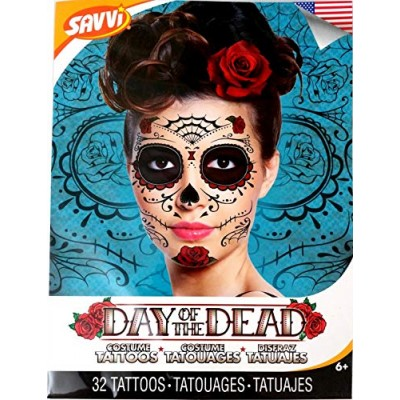 Red Roses Day of the Dead Sugar Skull Temporary Face Tattoo Kit - Pack of 2 Kits