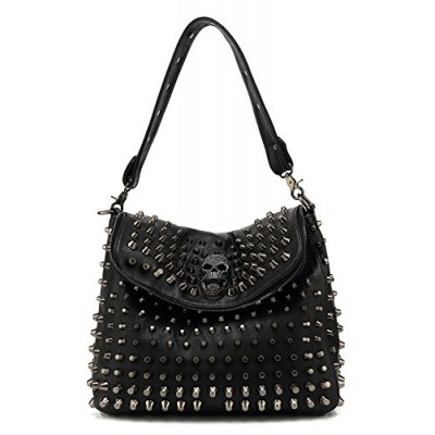 Scarleton Studded Skull Shoulder Bag H141701 - Black