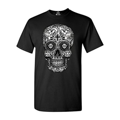 Shop4Ever Skull Black & White T-shirt Day of the Dead Shirts Large Black 17037